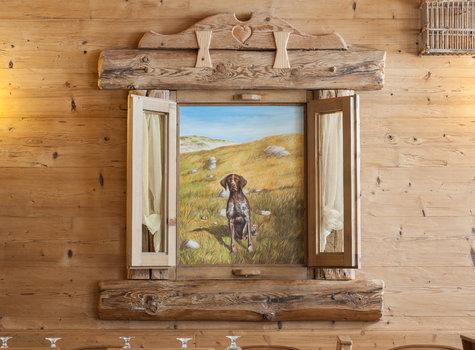 Bemalte Jagd Hund Fenster